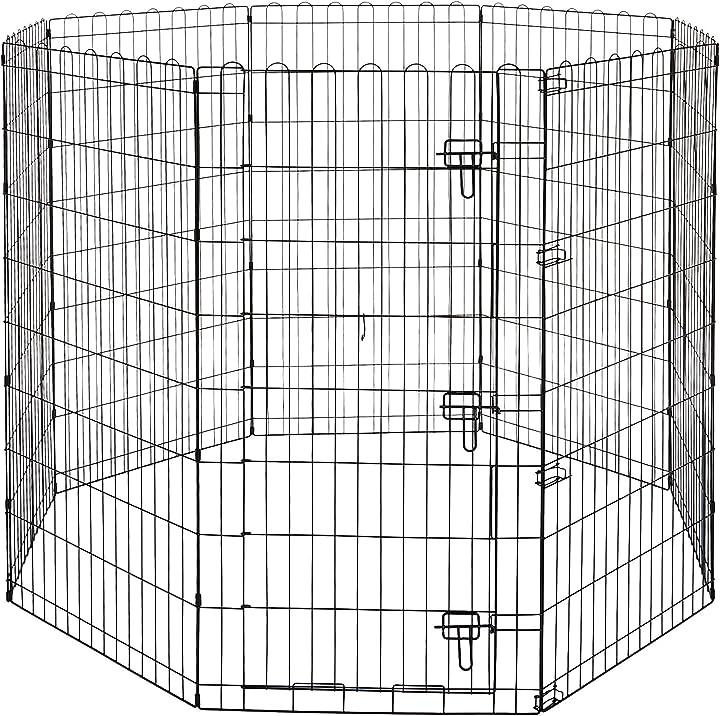 Recinzione per cani in metallo , pieghevole, per l'esercizio, 152,4 x 152,4 x 121,9 cm amazon basics 9004-48B