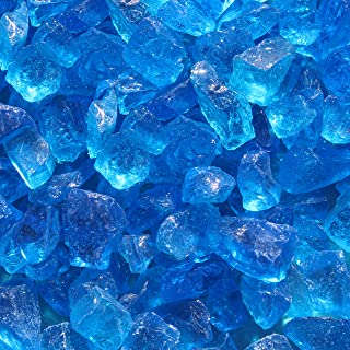 "Blue Ridge Brand Light Blue Fire Glass - 3-Pound Professional Grade Fire Pit Glass - 1/2"" Glass Rocks for Fire Pit and Landscaping"