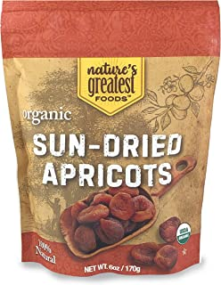 Nature's Greatest Foods, Organic Turkish Sun-Dried Apricots, Unsulphured, Raw, Vegan, No Added Sugar, Resealable Bag, 6 Ounce