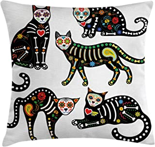 Ambesonne Sugar Skull Throw Pillow Cushion Cover, Calavera Inspired Ornate Black Cats Mexican Style Holiday The Day of The Dead, Decorative Square Accent Pillow Case, 18