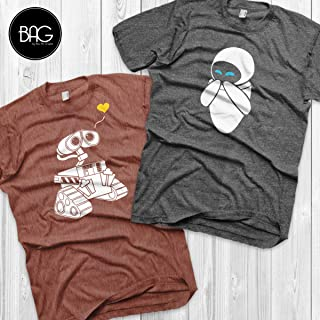 Wall-e and Eve Shirts Disney Couples Shirts Wall-e Custom Matching Shirts Couple T-shirts vacation shirts