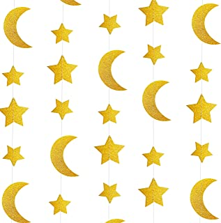 Gold Glitter Crescent Moon Twinkle Stars Garlands Garlands Baby Shower Birthday Wedding Party Engagement Bridal Baby Shower Ceiling Hanging Decorations, 26ft