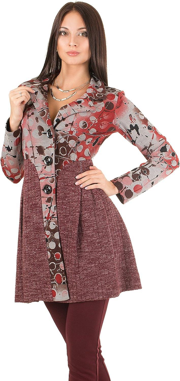 Dzhavael Couture Full Length Sleeves Burgundy Marsala Pleated Jacket (50163)