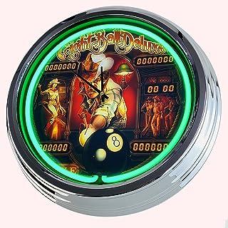 Reloj Neon Flipper Eighht Ball Deluxe Bally 1984 - Reloj de pared decorativo con luz, estilo de los años 50, retro, para c...