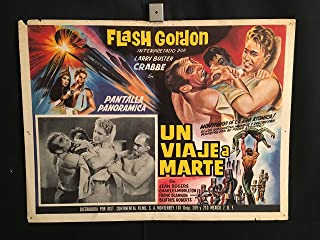 Flash Gordon's Trip To Mars 1960R Original Vintage Mexican Lobby Card Movie Poster, Buster Crabbe, Jean Rogers, Charles Middleton
