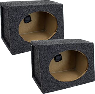 QPower Angled Style 6 x 9 Inch Car Audio Speaker Box Enclosures, 2 Speaker Boxes photo