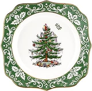 Spode Christmas Tree Embossed Scalloped Plate, Gold