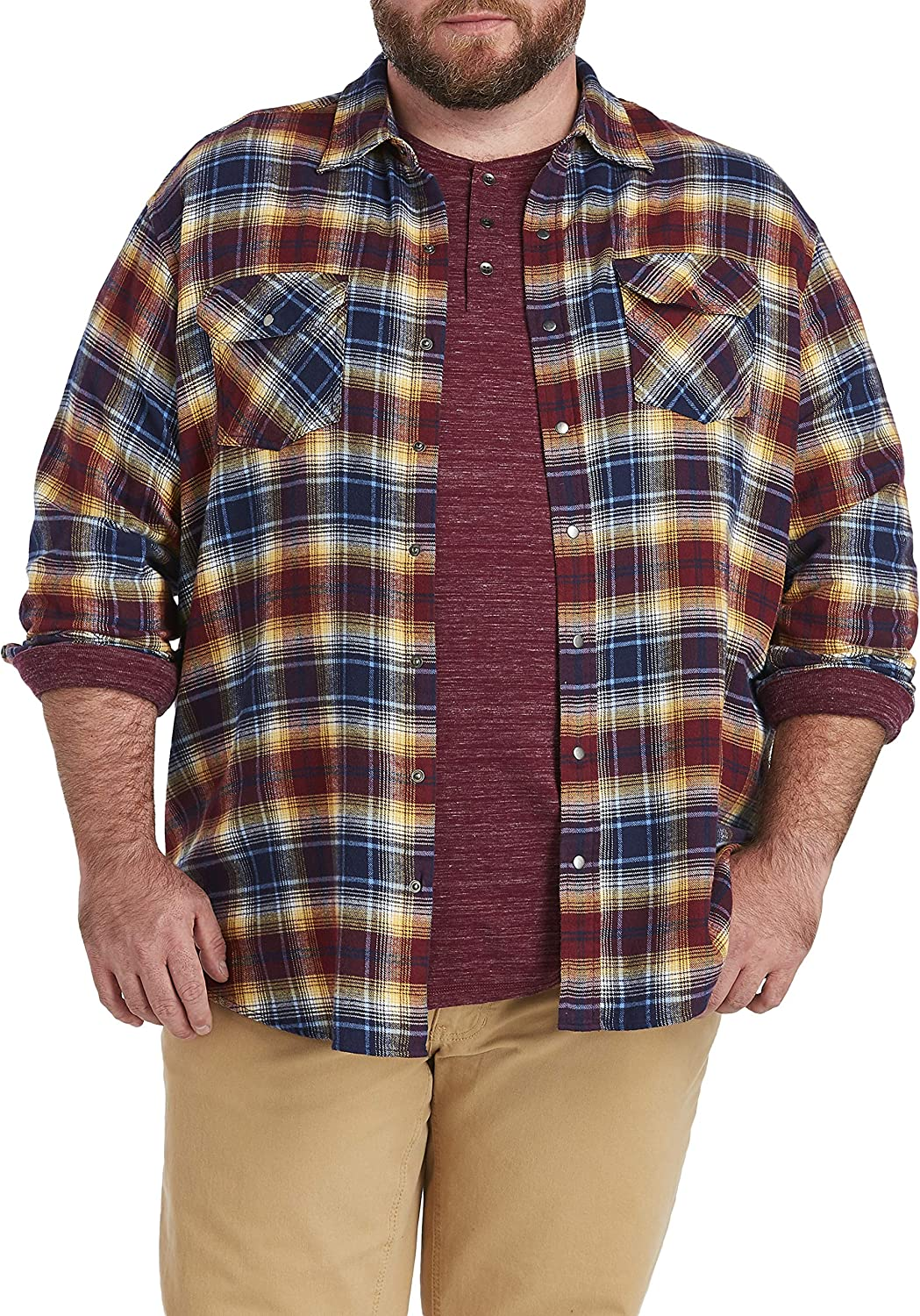 Harbor Bay by DXL Big and Tall Large Plaid Flannel Sport Shirt, Riviera Blue