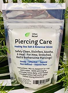 Urban ReLeaf Piercing Care 6 oz Bag ! Healing Sea Salts & Botanical AFTERCARE ! Safely Clean, Disinfect & Heal New & Stretched Piercings. Gentle ~ Effective ~ Natural