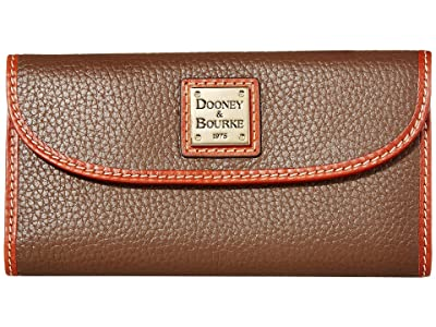 Dooney & Bourke Pebble Leather New SLGS Continental Clutch (Mushroom/Tan Trim) Clutch Handbags