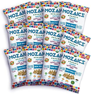 Mozaics Organic Popped Veggie & Potato Chips- Healthy snack, under 100 calories, better than veggie straws or stix - gluten free - 0.75oz single serve bags (Sea Salt, 12-count)