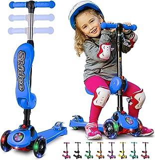 Scooters Skidee para niños de 2 a 12 años de edad - Scooter plegable con asiento extraíble, 3 ruedas con luz LED, freno de rueda trasera, tabla ancha de pie y altura ajustable, capacidad de 110 libras.