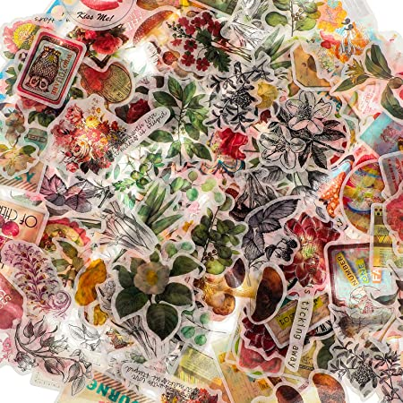 160 Pièces Autocollants Scrapbook Vintage Autocollants de Plantes Fleurs Vintage Stickers Champignon Papillon Rétro Autocollants Décoratifs Naturels Antiques pour Ordinateur Portable