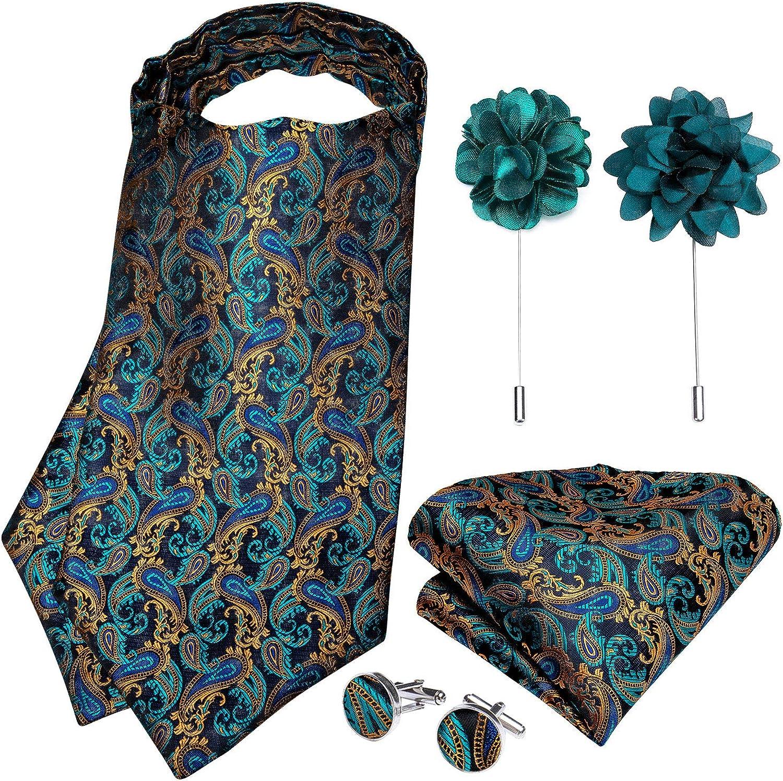 DiBanGu Teal Ascot Ties for Men Paisley Floral Cravat Ascot Pocket Square Cufflinks with Lapel Pin