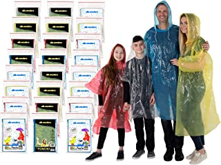 Rain Poncho Family Pack Emergency Ponchos for Kids Adult Men Women Teens Children Premium Quality 50% Thicker Disposable Raincoat with Drawstring Hood Waterproof Camping Hiking Sports Outdoor Events