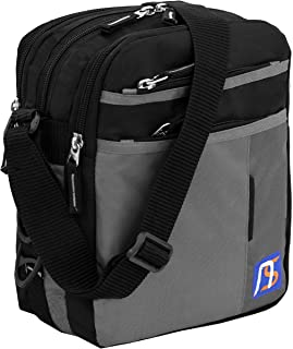 NISUN Nylon 7 Zipper Pocket Sling Cross Body Travel Business Messenger One Side Shoulder Bag For Men (21x27x10.5cm, Black...