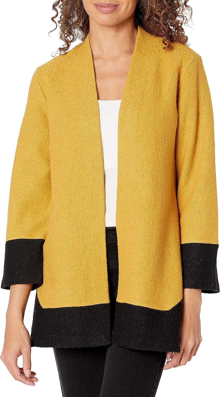 Kasper Women's Boiled Wool Color Block Cardigan