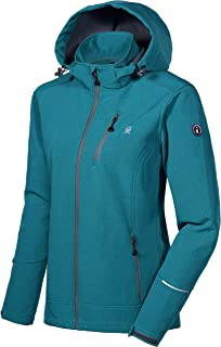 Women's Softshell Jacket Ski Jacket with Removable Hood, Fleece Lined and Water Repellent