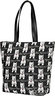 Black & White Westie Dog Print Women's Tapestry Shoulder Tote Handbag, Travel Handbags for Shopper, Daily Purse Tote Bag by Signare (SHOU-WES)