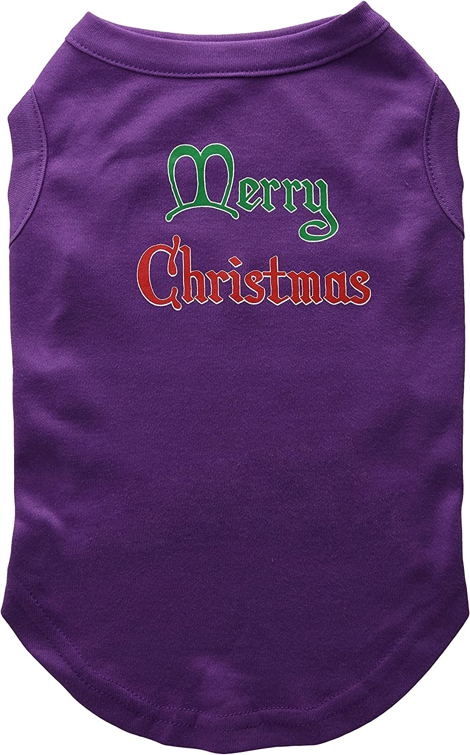 Mirage Pet Products 14Inch Merry Christmas Screen Print Shirts for Pets, Large, Purple