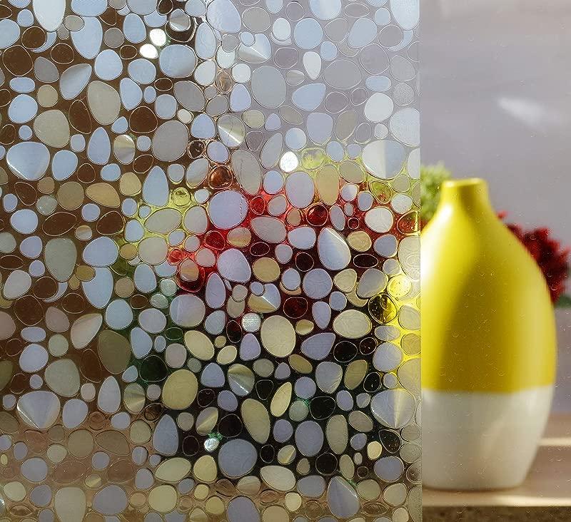 Designer Pebble Decorative Window Film Self Adhesive Static Cling