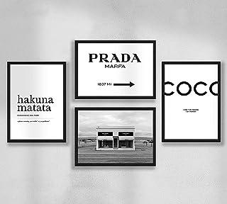 Decorazione da parete - Poster da parete Set di poster premium per soggiorno, formato A4, senza cornice, Prada Marfa, Coco...