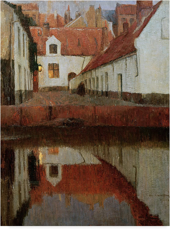 Trademark Fine Art Edge of The Water at Dusk by Albert Baertsoen, 14x19, Multicolor