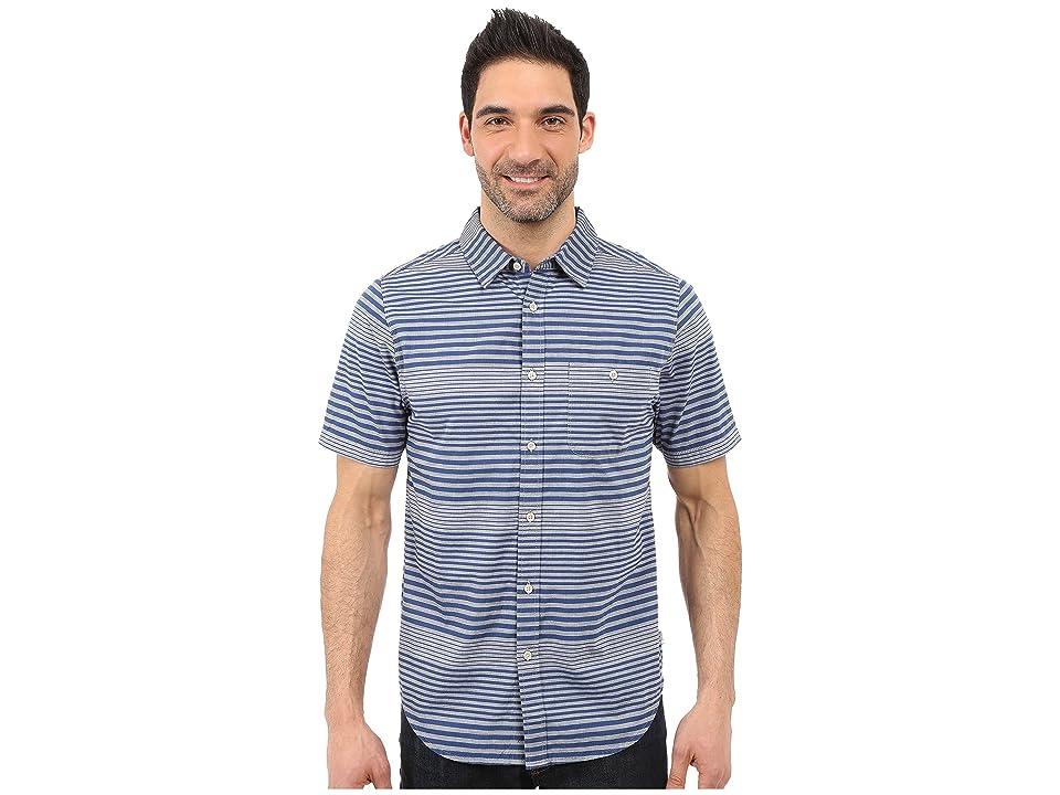 The North Face Short Sleeve Engine Stripe Shirt (Blue Coral (Prior Season)) Men