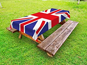Ambesonne Union Jack Outdoor Tablecloth, Classic Traditional Flag United Kingdom Modern British Loyalty, Decorative Washable Picnic Table Cloth, 58