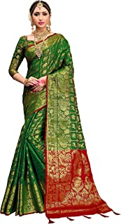 ELINA FASHION Sarees for Women Patola Art Silk Woven Work Saree l Indian Wedding Ethnic Sari with Blouse Piece