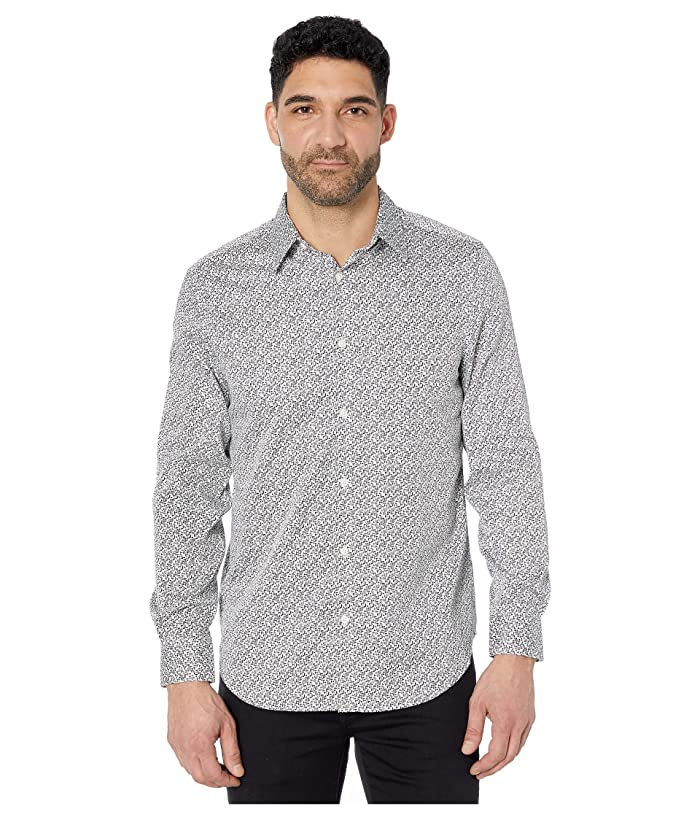 Perry Ellis  Arrow Print Long Sleeve Button-Down Shirt (Bright White) Mens Clothing