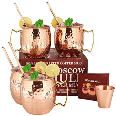 Moscow Mule Copper Mugs - Set of 4- HANDCRAFTED Pure Solid Copper Mugs - 16 oz 4 Cocktail Copper Straws and 1 Shot Glass with Recipe Booklet!