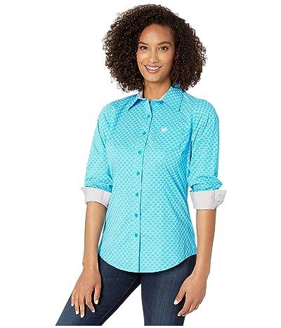 Cinch Long Sleeve Print (Blue) Women