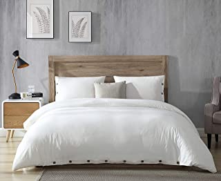 EXQ Home 100% Washed Cotton Off White Full Queen Duvet Cover Set Size 3 Pcs, Super Soft Hotel Collection Bedding Vintage Comforter Cover with Button Closure (Hypoallergenic, Breathable)