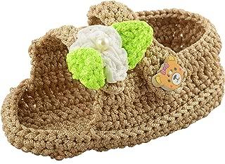 FUNKRAFTS Baby Girls' Brown Crochet Booties - 2 UK