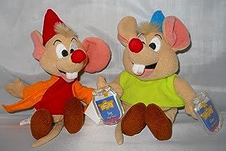 "Set of 2 Disney Cinderella Star Bean Plush 8"" Jaq & Gus pair of mice."