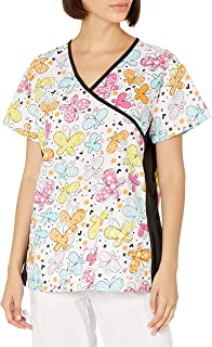 Just Love Women's Mock Wrap Printed Nursing Scrub Top with Knit Side Panels