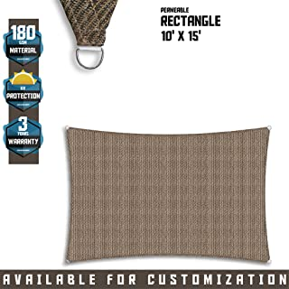 TANG Sunshades Depot 10' x 15' Sun Shade Sail Square Permeable Canopy Brown Coffee Custom Commercial Standard 180 GSM HDPE