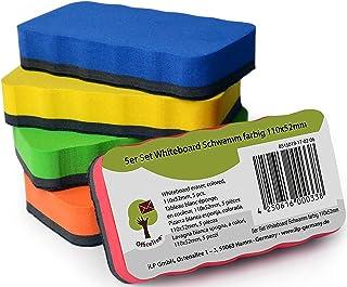 Set de 5 borradores de pizarra blanca OfficeTree ® – 5 colores – magnéticas – elimina restos de escrituras y dibujos en pizarra blanca, papelógrafo