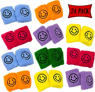 Kids Wristbands Smiley Face In Assorted Colors - Kids Wrist bands With Happy Smile Face Design - Bulk Pack Of 24 Wristbands Party Favor, Giveaway Sweat Wristbands For Kids