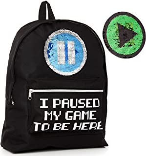 I Paused My Game to Be Here Mochila Para Chicos y Chicas Con Lentejuela Reversible, Mochilas Escolares Viaje Gimnasio Gran Capacidad Niños Adolescentes Adultos, Regalo Original Gamers