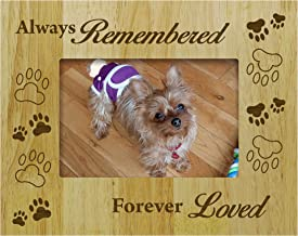 Darling Souvenir Personalized Wood Engraved Dog Memorial Picture Frame Always Remembered Forever Loved - Loss of A Pet Gift 5 x 7 Inches Horizontal