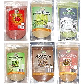 Matruveda 100% Pure & Natural Hibiscus Powder, Amla Powder, Bhringraj Powder, Shikakai powder, Aritha powder & Indigo Powder natural hair colour (Pack of 6) Each 100gm for Complete hair care