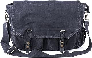 Canvas Messenger Bag - Vintage Satchel Cross Body Shoulder Bag, Fit 15.6-Inch Laptop