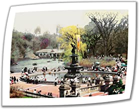 ArtWall Bethesda Fountain 24 by 32-Inch Unwrapped Canvas Art by Linda Parker with 2-Inch Accent Border