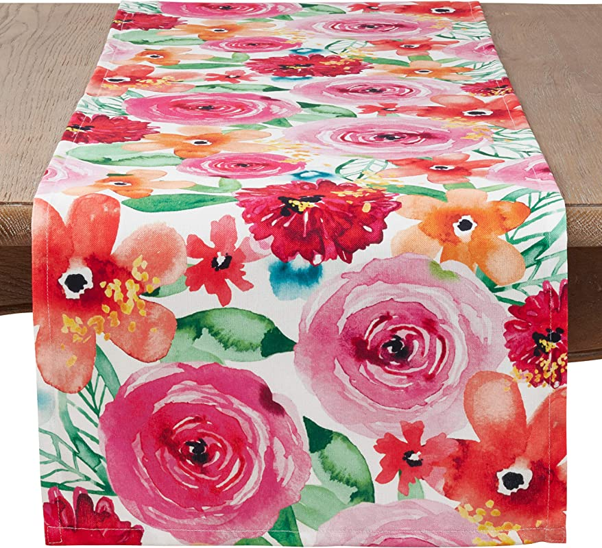 SARO LIFESTYLE 3233 M1672B Sara B Collection Santa Monica Floral Table Runner 16 X 72 Multi