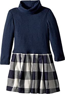 fiveloaves twofish - Little Knit Flannel Dress Navy Plaid (Toddler/Little Kids)