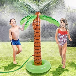 COUOMOXA Water Sprinkler Toy Inflatable Palm Tree, Outdoor Water Play Sprinklers Summer Cooler Spray Toy Water Fun Backyard Play Hawaiian Luau Party Decoration Tree ,61
