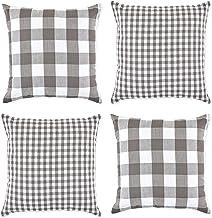 غطاء وسادة DII Gingham/Check مقاس 45.72 × 45.72 سم، رمادي/أبيض