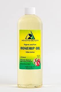 Rosehip Seed Oil Organic Refined Cold Pressed Premium 100% Pure 16 oz